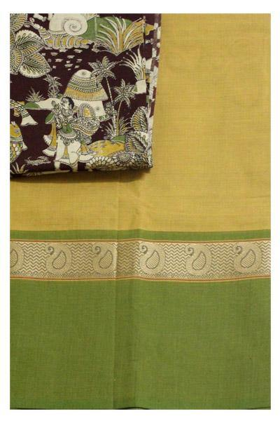 Chettinadu pure cotton handloom saree with a beautiful matching kalamkari blouse material (30101B), Sarees - Swadeshi Boutique
