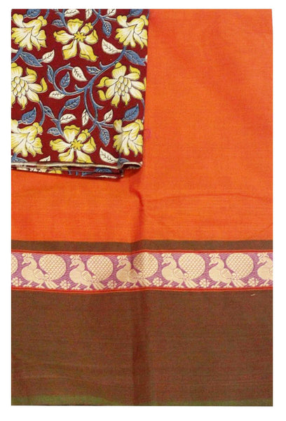 * Mega Sale  * Chettinadu pure cotton saree with a matching kalamkari blouse material (30115E)