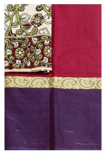 Chettinad Handloom pure cotton saree with a beautiful matching kalamkari blouse material (30116B)