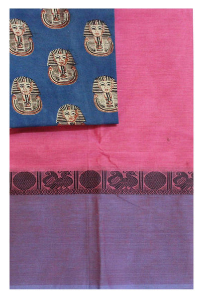 Chettinad Handloom pure cotton saree with a beautiful matching kalamkari blouse material (30118B)
