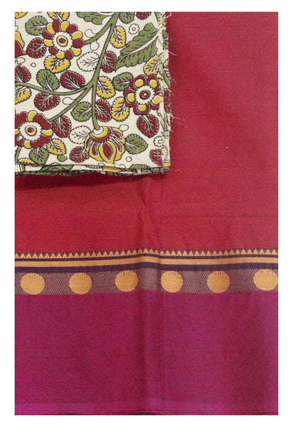638cd7fa0d Chettinad Handloom pure cotton saree with a beautiful matching kalamkari  blouse material (30120B)