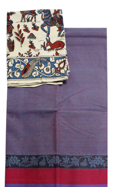 Beautiful Chettinad Handloom pure cotton saree with a beautiful matching kalamkari blouse material (30125A)