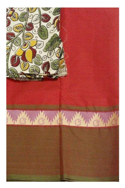 Chettinadu pure cotton saree with a kalamkari blouse material (30128A) *40% Off Sale *, Sarees - Swadeshi Boutique