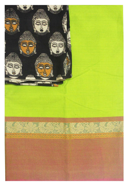 Chettinad Handloom pure cotton saree with a beautiful matching kalamkari blouse material (30157B)
