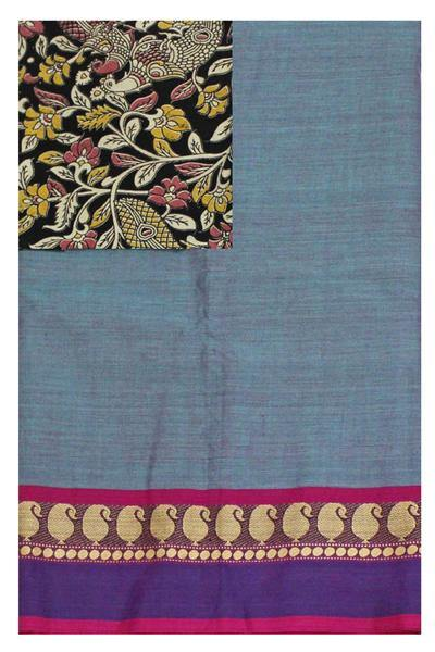 Chettinad handloom cotton saree with a kalamkari blouse material (30164A)  * Sale 50% Off *, Sarees - Swadeshi Boutique