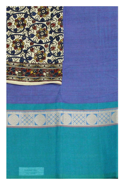 Chettinad Handloom pure cotton saree with a beautiful matching kalamkari blouse material (30167A)