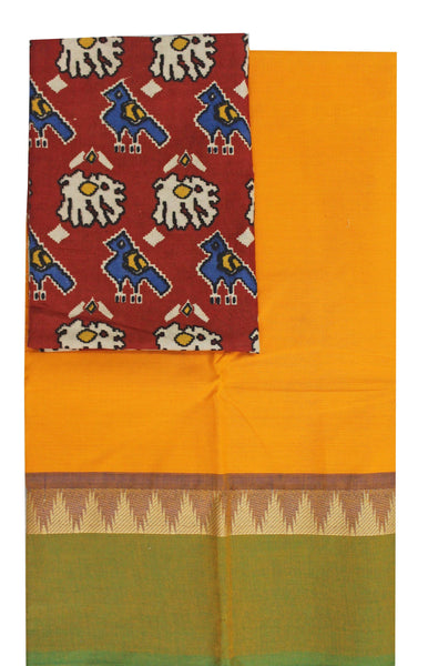 Chettinadu pure cotton saree with temple border and beautiful Ikkat kalamkari blouse material (30179A)