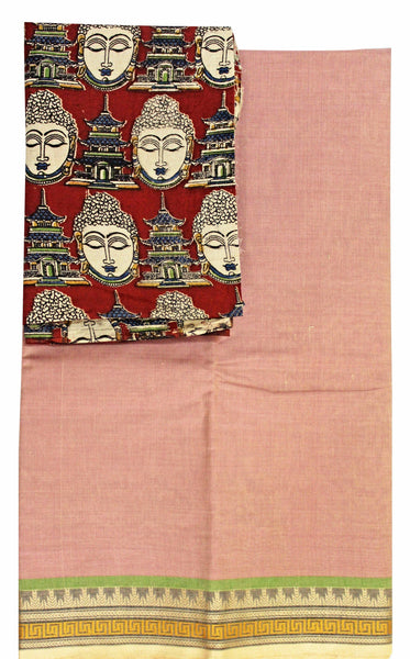 Chettinad Handloom pure cotton saree with a beautiful matching kalamkari blouse material (30183A)