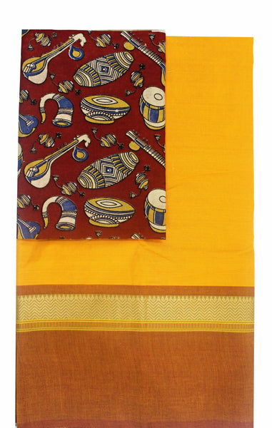 Chettinadu cotton saree with a kalamkari blouse material - (30188A) *40% Off sale *, Sarees - Swadeshi Boutique