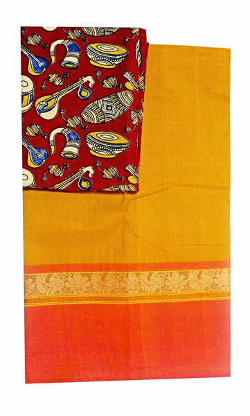 Chettinad pure cotton saree with a kalamkari blouse material (30190A)   *40% Off sale *, Sarees - Swadeshi Boutique