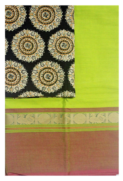 * No GST sale 50% off* Chettinad Handloom pure cotton saree with a beautiful matching kalamkari blouse material (30199A)