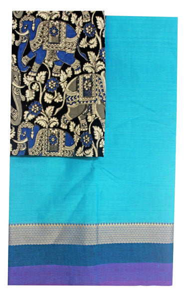 * Mega Sale * Chettinad pure cotton saree with a beautiful matching kalamkari blouse material (30200A)