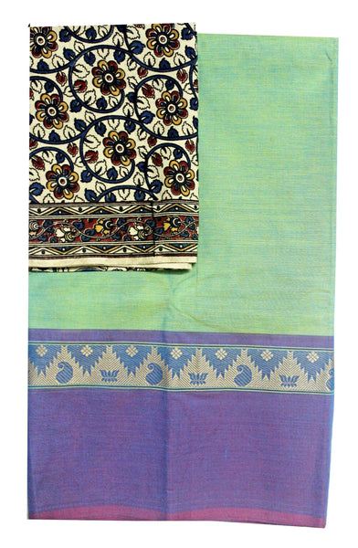 Chettinad Handloom pure cotton saree with a beautiful matching kalamkari blouse material (30203A)