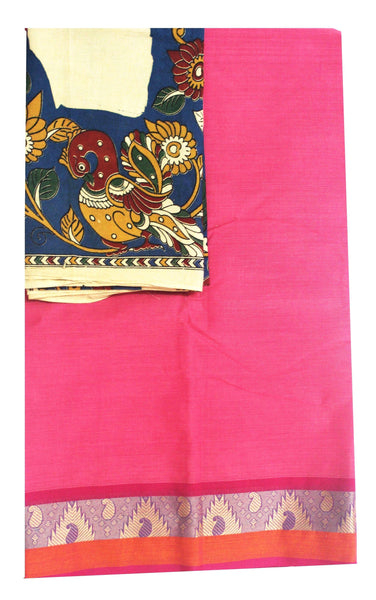Chettinad cotton saree with a beautiful matching kalamkari blouse material (30206A), Sarees - Swadeshi Boutique