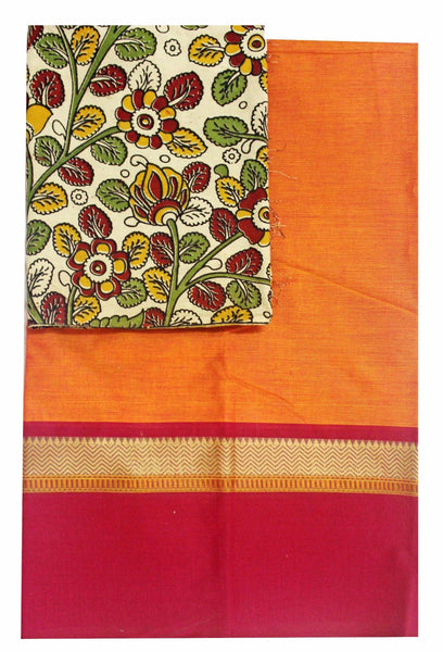 Chettinad Handloom pure cotton saree with a beautiful matching Kalamkari blouse material (30216A), Sarees - Swadeshi Boutique