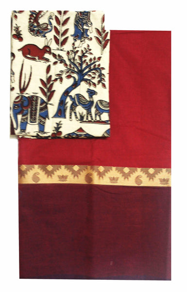 Chettinad pure cotton saree with a beautiful matching Kalamkari blouse material (30225A), Sarees - Swadeshi Boutique