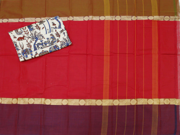 Chettinad Handloom cotton saree with a Kalamkari blouse material (30231A)  *40% Off sale *, Sarees - Swadeshi Boutique
