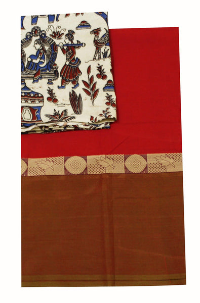 Chettinad pure cotton saree with a beautiful matching Kalamkari blouse material (30231A)