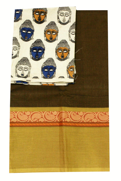 Chettinad pure cotton saree with a beautiful matching Kalamkari blouse material (30234A)