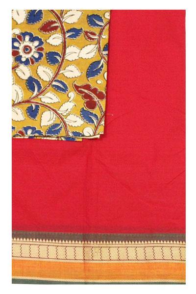Chettinad Handloom pure cotton saree with kalamkari blouse (30236A) * 40% Off sale*, Sarees - Swadeshi Boutique