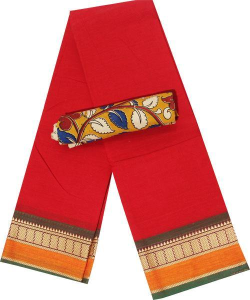 Chettinad Handloom pure cotton saree with kalamkari blouse (30236A) * 50% Off sale*, Sarees - Swadeshi Boutique