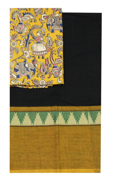 Chettinadu pure cotton saree with a beautiful matching kalamkari blouse material (30239A)