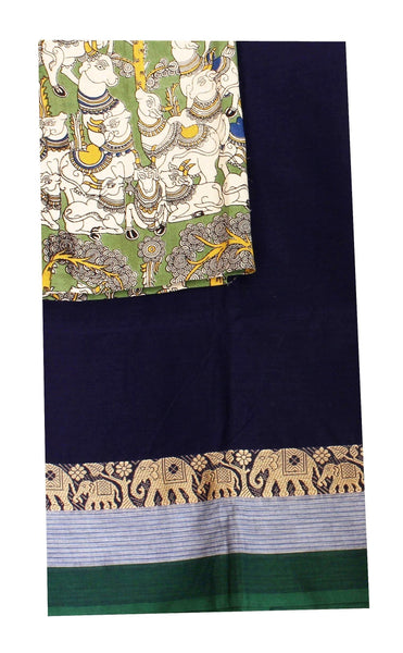 Chettinadu pure cotton saree with a beautiful matching kalamkari blouse material (30253A)