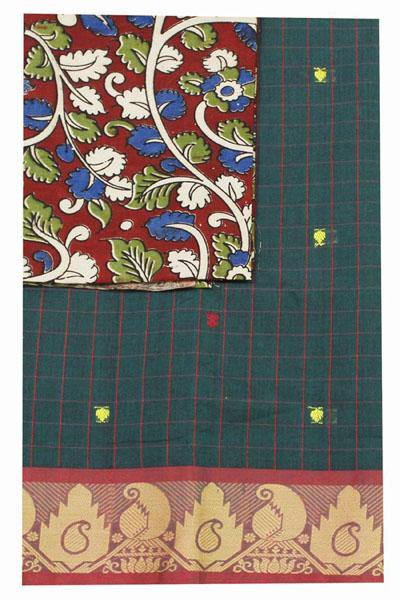 Chettinad handloom cotton saree with a kalamkari blouse material (30259A), Sarees - Swadeshi Boutique