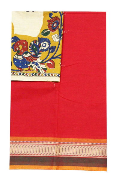 Chettinadu pure cotton saree with a beautiful matching kalamkari blouse material (30272A), Sarees - Swadeshi Boutique