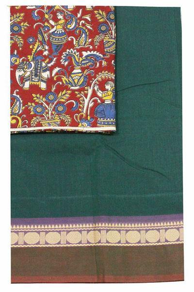 Chettinad handloom cotton saree with a kalamkari blouse material (30276A), Sarees - Swadeshi Boutique