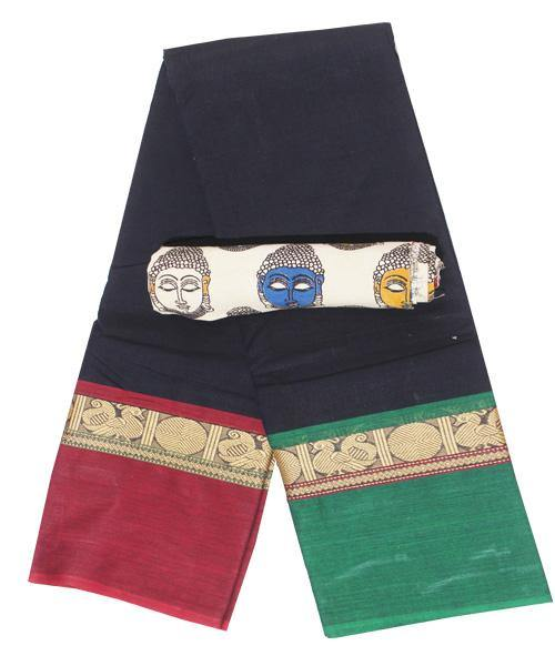Chettinad cotton saree with a kalamkari blouse material (30290A), Sarees - Swadeshi Boutique