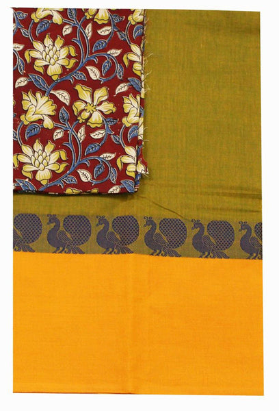 Chettinad Handloom pure cotton saree with a beautiful matching Kalamkari blouse material (30302A)