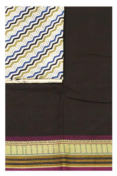 Chettinad Handloom pure cotton saree with a beautiful matching kalamkari blouse material (30305A) *Sale 50% Off *, Sarees - Swadeshi Boutique