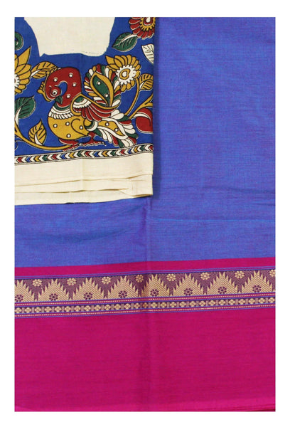 Chettinad Handloom pure cotton saree with a beautiful matching kalamkari blouse material (30308A)