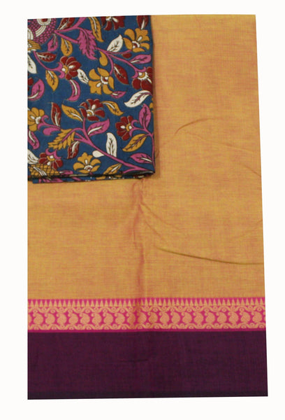 Chettinadu pure cotton saree with a beautiful matching kalamkari blouse material (30309A)