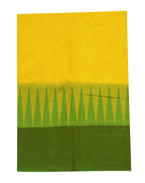 Chettinadu pure cotton saree with traditional temple border and attached blouse (30312A)
