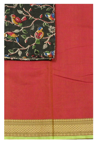 * No GST Sale 50% Off * Chettinad Handloom pure cotton saree with a beautiful matching kalamkari blouse material (30310A)