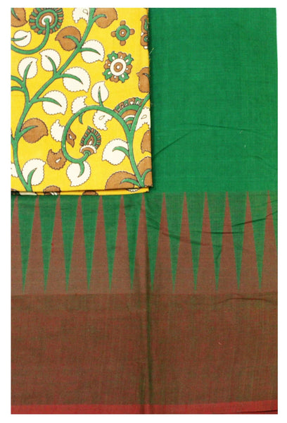 Chettinadu Handloom pure cotton saree with traditional temple border and attached blouse(Additional Kalamkari Blouse)- (30314A)