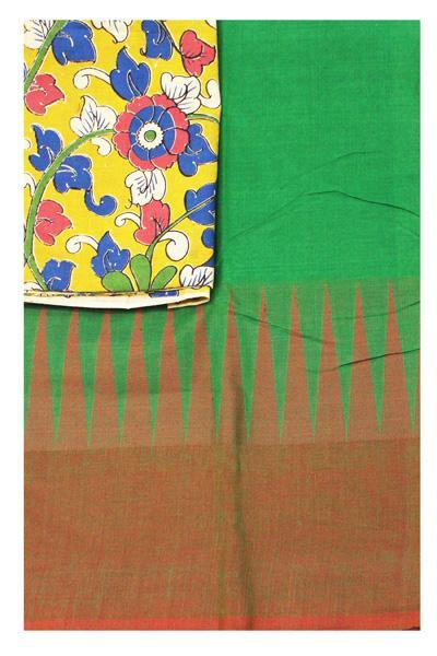 Chettinadu Handloom pure cotton saree with traditional temple border and attached blouse(Additional Kalamkari Blouse)- (30314B)