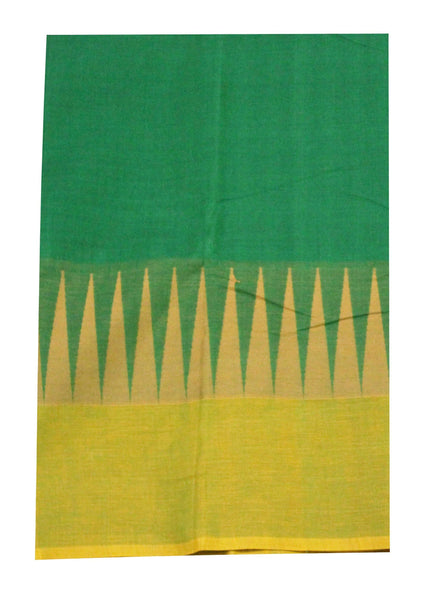 Chettinadu pure cotton saree with traditional temple border and attached blouse (30315A)