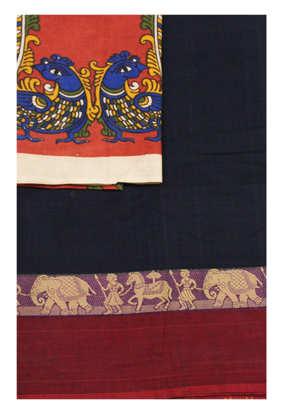 Chettinad Handloom pure cotton saree with a beautiful matching kalamkari blouse material (30334A)