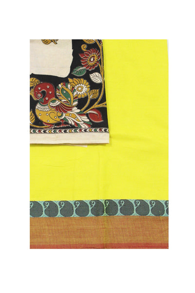 Chettinadu pure cotton saree with a beautiful matching kalamkari blouse material (30335A)