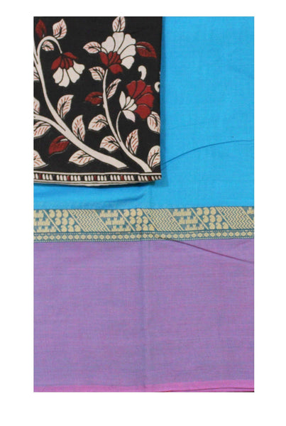 * Mega Sale  * Chettinadu pure cotton saree with a beautiful matching kalamkari blouse material (30349A)
