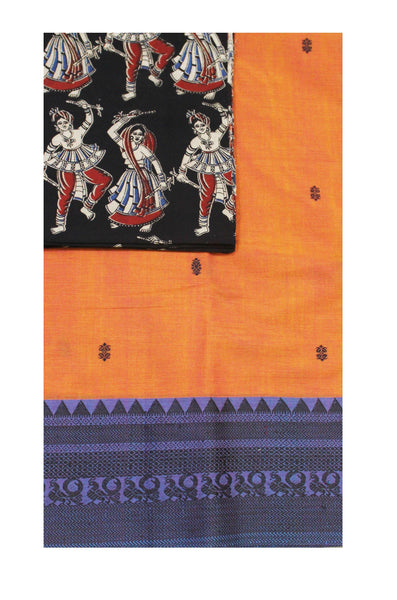 Chettinadu pure cotton saree with putta and beautiful matching kalamkari blouse material (30355A)