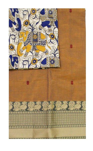 Chettinadu pure cotton saree with putta and beautiful matching kalamkari blouse material (30356A)