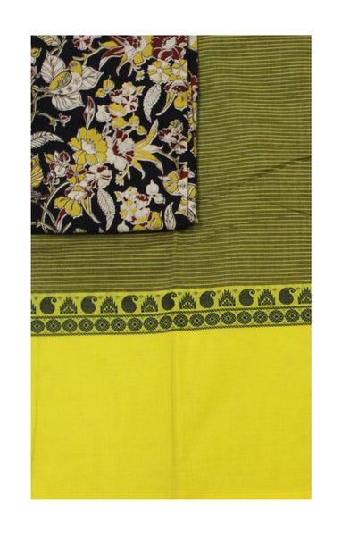 Chettinad pure cotton saree with a beautiful matching kalamkari blouse material (30361A)