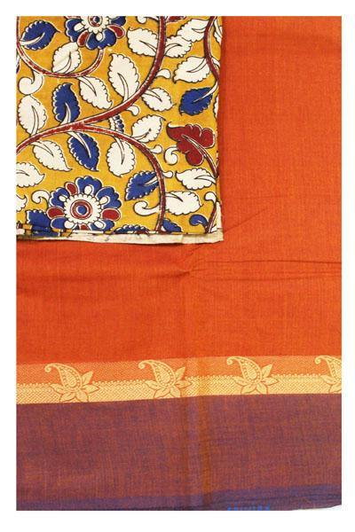 Chettinad handloom cotton saree with a kalamkari blouse material (30363A), Sarees - Swadeshi Boutique