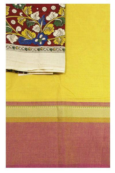 Chettinad Handloom pure cotton saree with a beautiful multi-pattern kalamkari blouse material (30364A)