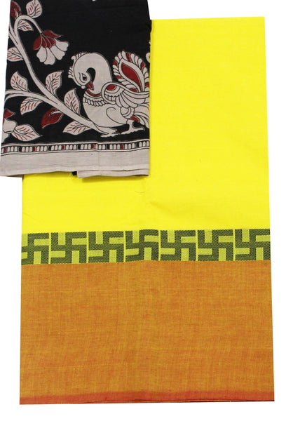 Chettinadu pure cotton saree with a multi-pattern Kalamkari designer blouse material (30372A)