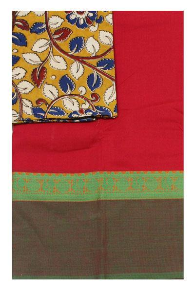 Chettinad handloom cotton saree with a kalamkari blouse material (30377A), Sarees - Swadeshi Boutique